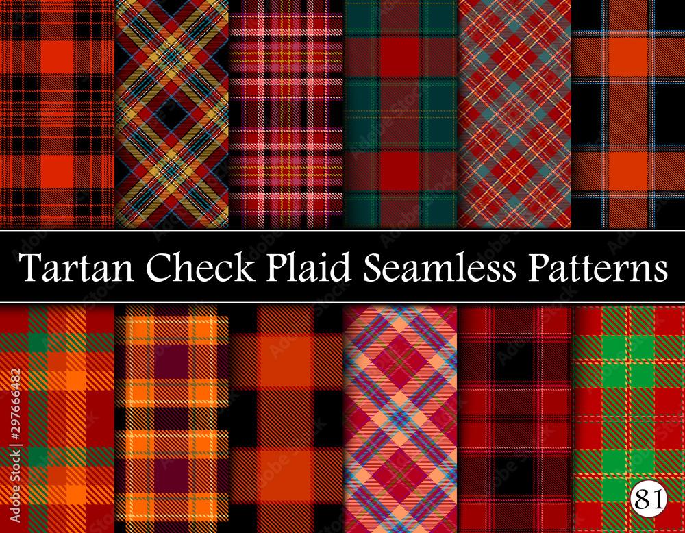 Fototapeta Set Tartan Plaid Scottish Seamless Pattern