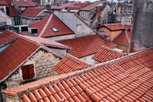 Ancient Architecture. Red Tiled Roofs Of Old Europian Town. Split, Croaria.