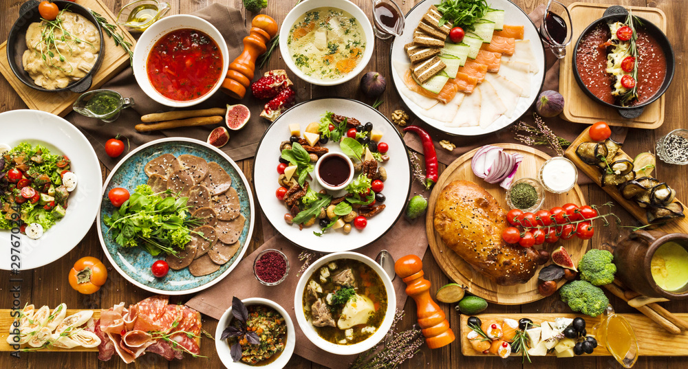 Fototapety, obrazy: variety of restaurant dishes of national Georgian Armenian and Azerbaijani cuisine