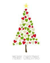 Vector Card With Green Christmas Tree Made From Hearts And Dots. Abstract Cute Decorative Illustration For Invitation. New Year Tree Made With Hearts