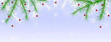 Christmas, Winter Holiday  Border With Fir Branches Snow And Berries. Winter Decor Celebration Background With Leaves
