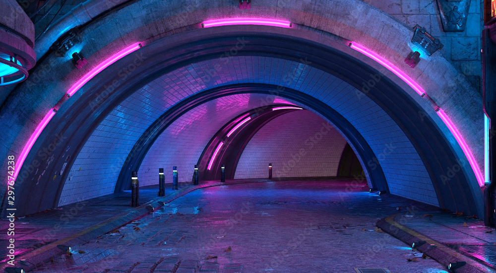Fototapeta Photorealistic 3d illustration in the style of cyberpunk. Tunnel road with bright neon lights. Beautiful night cityscape. Grunge urban landscape.