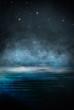Leinwanddruck Bild - Dark empty scene, blue neon searchlight light, wet asphalt, smoke, night view, rays. Empty black studio room. Dark background. Abstract dark empty studio room texture. Product showcase spotlight back