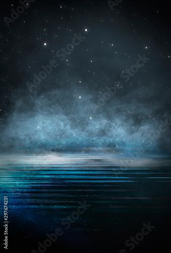 Dark empty scene, blue neon searchlight light, wet asphalt, smoke, night view, rays Fototapeta