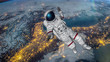 The astronaut hits planet Earth. Elements Of This Video Furnished By Nasa. 3D rendering