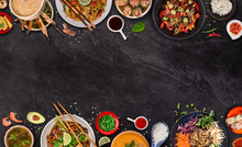 Asian Food Background With Var...