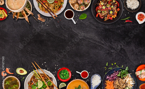 Fototapeta Asian food background with various ingredients on rustic stone background , top view. Vietnam or Thai cuisine. obraz