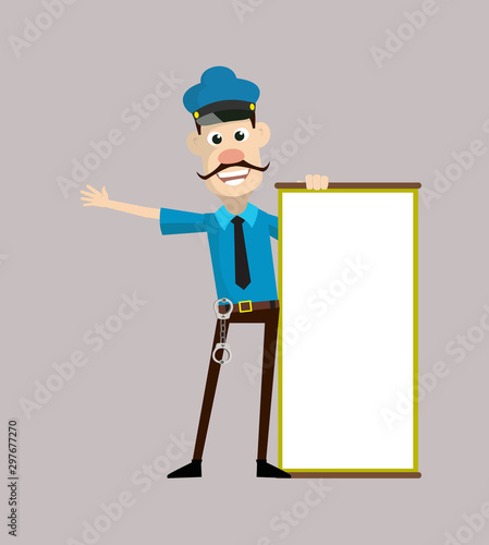 Photographie Cartoon Cop Policeman - Joyfully Presenting a Blank  Board