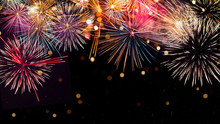 Colorful Firework With Bokeh B...