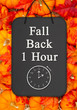 Leinwandbild Motiv Fall Back 1 hour time change message on a chalkboard sign on pumpkins