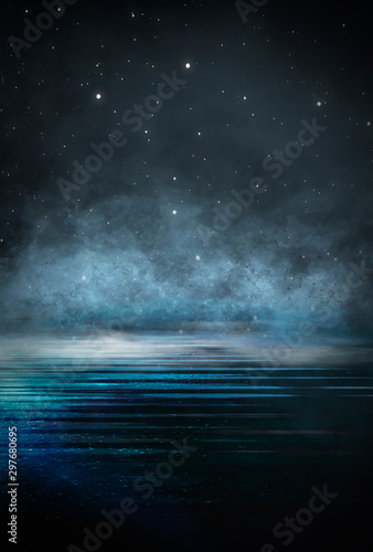 Empty background scene. Dark street reflection on the wet pavement. Rays neon light in the dark, neon figures, smoke. Night view of the street, the city. Abstract dark background. Abstract spotlight. - 297680695
