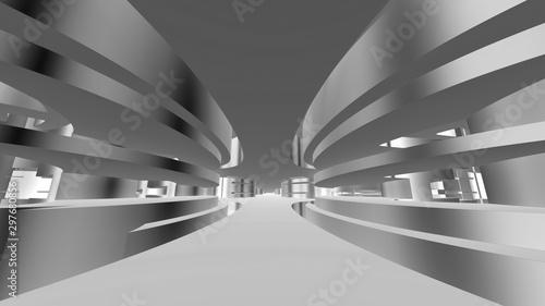 Fototapeta tunel  futurystyczny-tunel-z-rozdrobnionymi-metalowymi-scianami