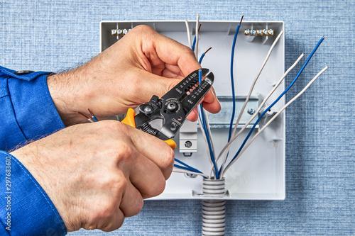Wiring in domestic consumer unit circuit breaker. Canvas Print