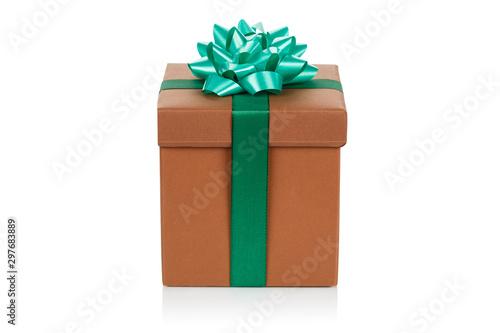 Christmas present birthday gift brown box ribbon isolated on white Fototapeta