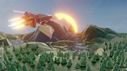 Obraz na plátně Low Poly scene of a warship flying over a forest, lake and mountains at sunrise