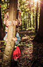 Woman And Little Girl Hands Hugging A Tree - Fight Climate Change, Save Planet Earth For Our Children