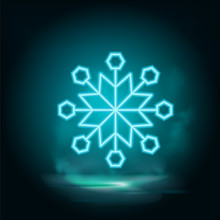 Snowflake Neon Vector Icon Vector. Illustration Of Snowflake