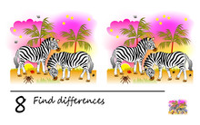 Find 8 Differences. Logic Puzzle Game For Children And Adults. Printable Page For Kids Brain Teaser Book. Image Of Two Cute Zebras In African Desert. Developing Counting Skills. IQ Training Test.