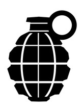 Vector Silhouette Of Grenade. Motives Of War, Militarty, Dangerous, Weapon, Army, Bomb, Combat