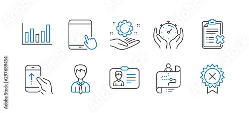 Valokuvatapetti Set of Business icons, such as Employee hand, Journey path, Column chart, Timer, Identification card, Businessman, Reject checklist, Swipe up, Tablet pc, Reject medal line icons