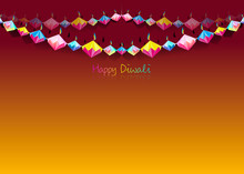 Happy Diwali Celebration Indian Bunting In Origami Style Graphic Design Of Indian Diya Oil Lamps In Diamond Shape, Folded Paper Flat Design.  Colorful Festival Of Lights. Vector Isolated On Orange