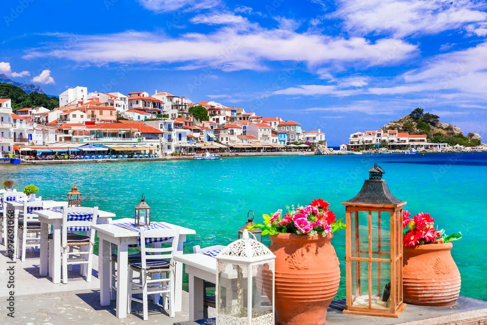 Fototapety, obrazy: Traditional Greek seaside taverns . beautiful Samos island, Kokkari village
