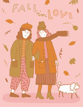 2 Girls In Love Go For A Walk With Their Dog In Autumn Illustration