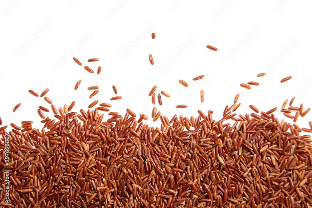 Fototapety, obrazy: Red rice scattered on white background. Heap of uncooked dry rice grains, top view