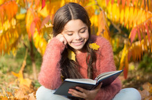Her Hobby Is Reading. Cute Small Child Reading Book On Autumn Day. Adorable Little Girl Enjoy English Literature. Childrens Literature. Literature Education. Childhood In Literature