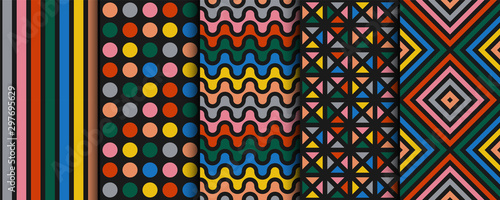 Set of bright vector colorful seamless geometric patterns - contemporary design. Vibrant backgrounds, endless trendy textures