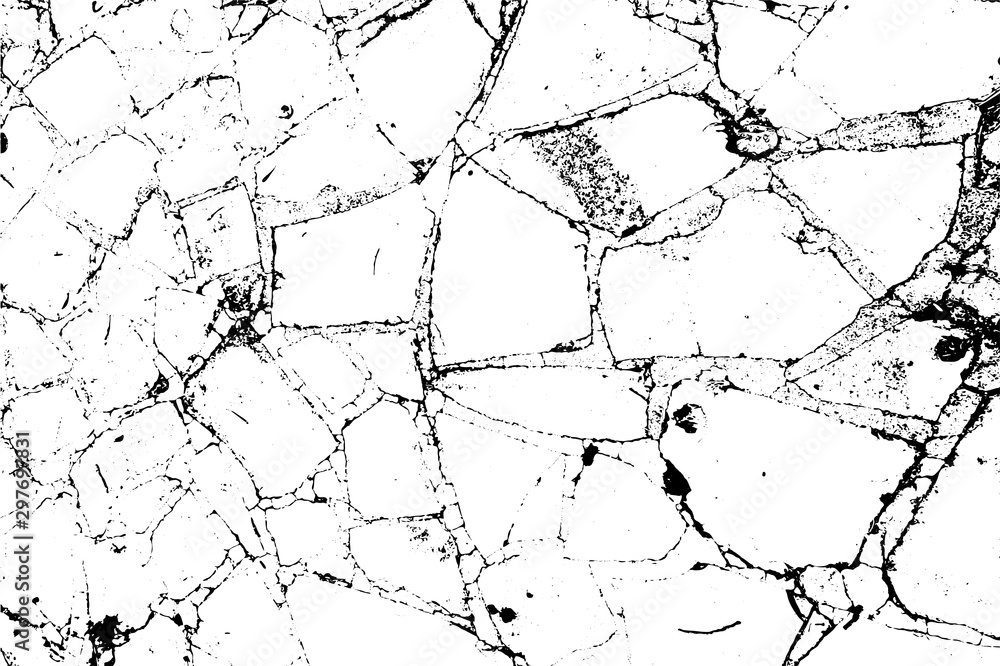 Fototapety, obrazy: Distressed overlay texture of cracked concrete, stone and asphalt. Grunge background. one color graphic resource.