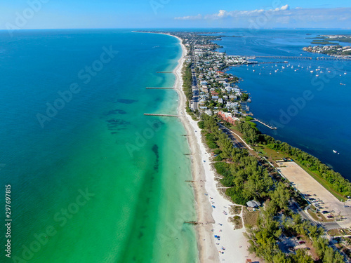 Aerial view of Coquina Beach with white sand beach and the main road, Anna Maria Island, Florida Wallpaper Mural