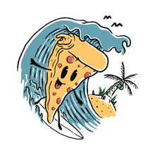 Food Pizza Lover Surfing Summer Graphic Illustration Vector Art T-shirt Design