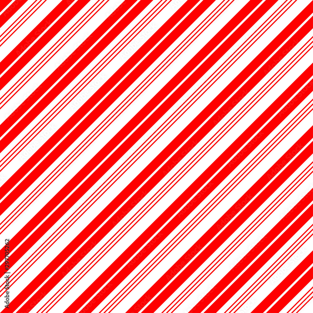 Fototapety, obrazy: Christmas Candy Cane Stripes Seamless Vector Pattern in Red and White. Popular Winter Holiday Backdrop. Variable Width Stripes. Diagonal Lines Background. Repeating Tile Swatch Included.
