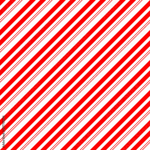 Christmas Candy Cane Stripes Seamless Vector Pattern in Red and White Billede på lærred