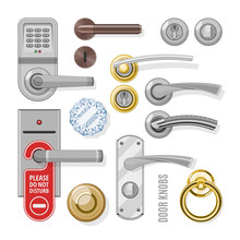Door Knobs Vector Doorknob Handle To Lock Doors At Home And Metal Door-handle In House Interior Illustration Set Of Entrance Door-knob Design Isolated On White Background