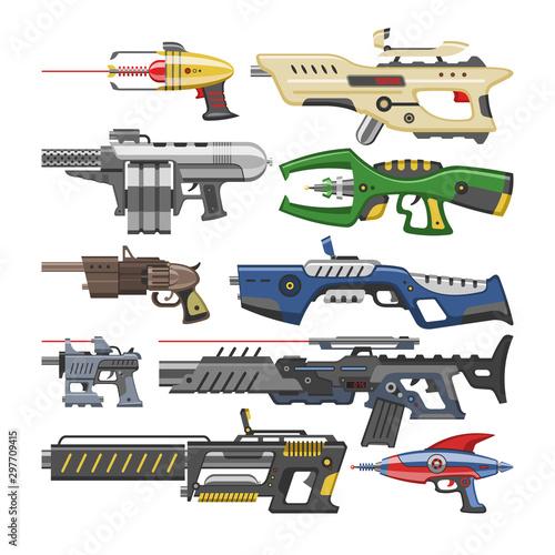 Photo Weapon vector blaster laser gun with futuristic handgun and raygun of aliens in