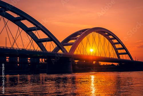 Obraz na plátně  bridge at sunset