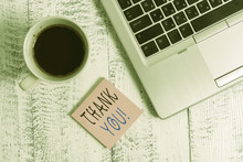 Handwriting Text Writing Thank You. Conceptual Photo Polite Expression Used When Acknowledging Gift Service Compliment Trendy Metallic Laptop Blank Sticky Notes Coffee Cup Lying Vintage Table