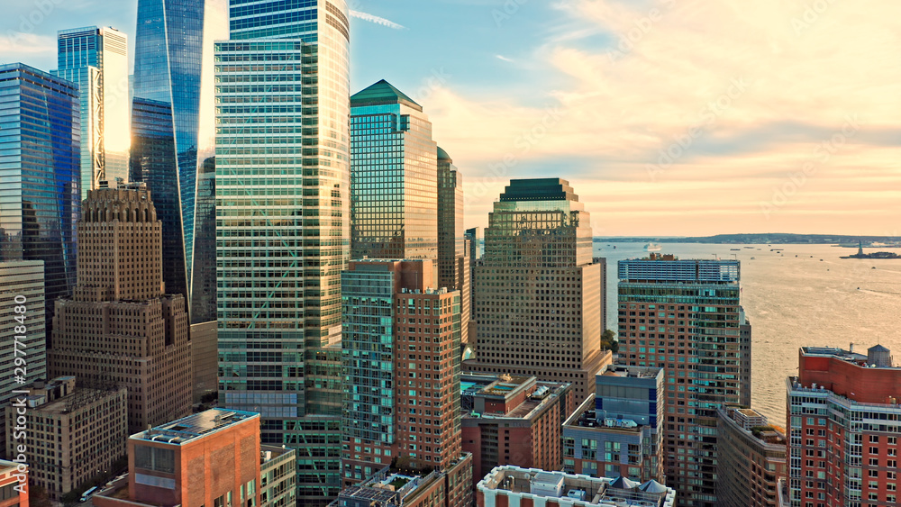 Fototapety, obrazy: Aerial view with Lower Manhattan skyscrapers closeup at sunset view