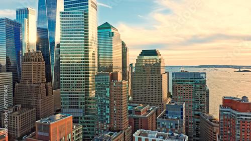 Fototapeta Aerial view with Lower Manhattan skyscrapers closeup at sunset view obraz