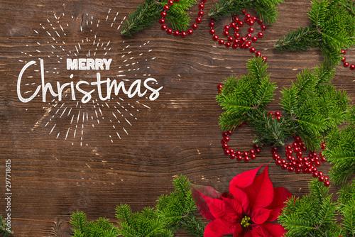 Montage in der Fensternische Amsterdam Christmas decoration and Merry Christmas message on wooden background