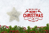 decorative star in snow with merry christmas message