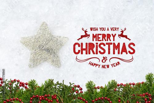 Montage in der Fensternische Amsterdam decorative star in snow with merry christmas message