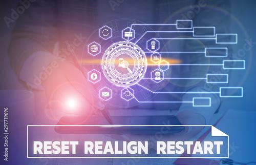 Word writing text Reset Realign Restart Canvas-taulu