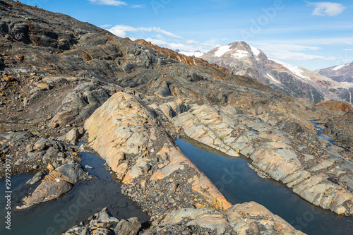 Valokuvatapetti Glacial Striations in newly uncovered rock below melting glacier in Canada