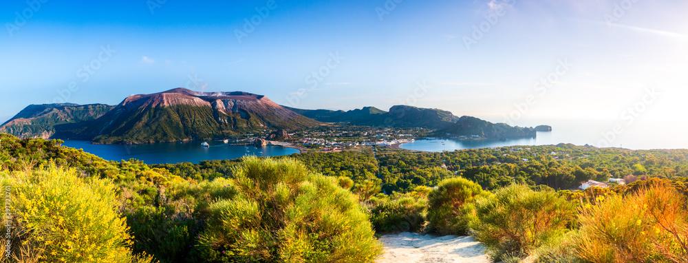 Fototapeta Panoramic view of Vulcano in the aeolian island a volcanic archipelago