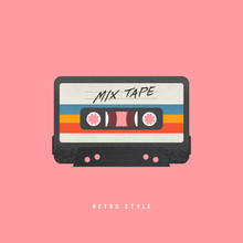 Cassette With Retro Label As Vintage Object For 80s Revival Mix Tape.