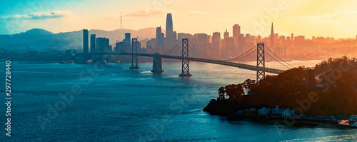 Spoed Fotobehang Bruggen Aerial view of the Bay Bridge in San Francisco, CA