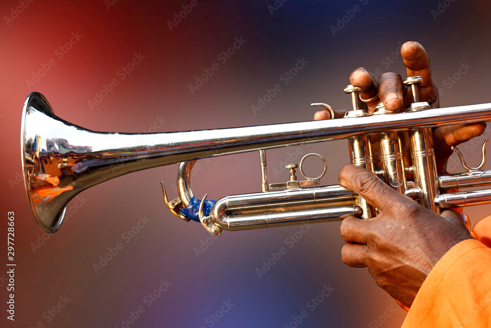 Fototapety, obrazy: A person playing sweet songs with Trumpet, Brass, Wind, jazz, aerophone, music instrument